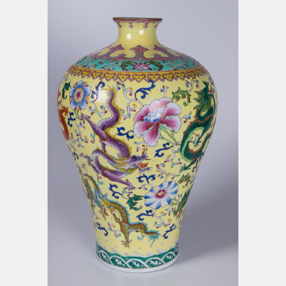 A Chinese Famille Jaune Porcelain Vase, 20th Century, - 2