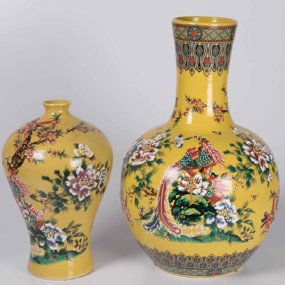 Two Chinese Famille Jaune Porcelain Vases, 20th