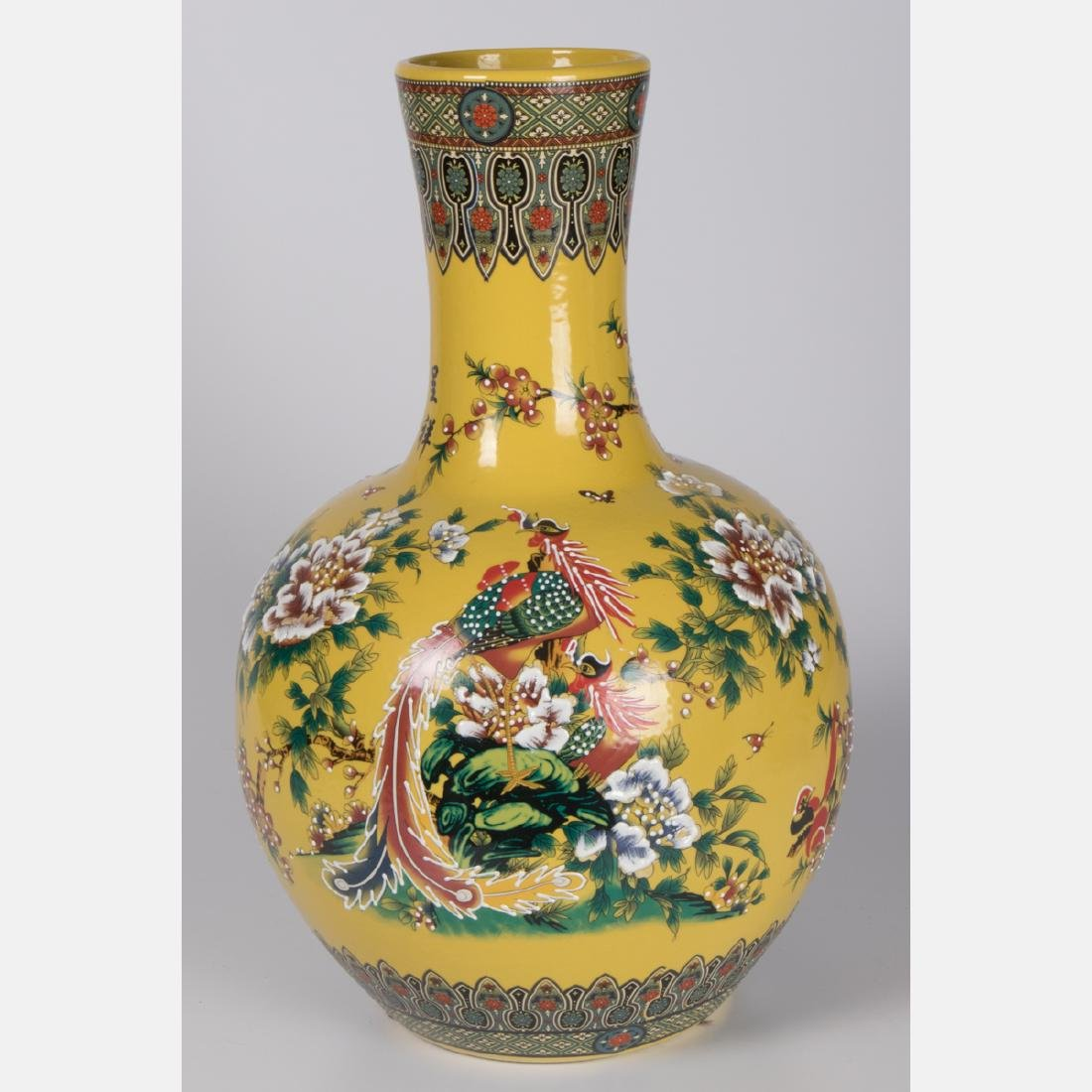 Two Chinese Famille Jaune Porcelain Vases, 20th - 4