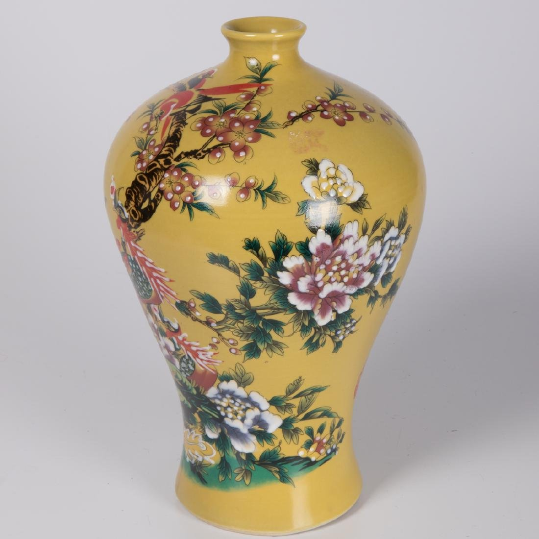 Two Chinese Famille Jaune Porcelain Vases, 20th - 5