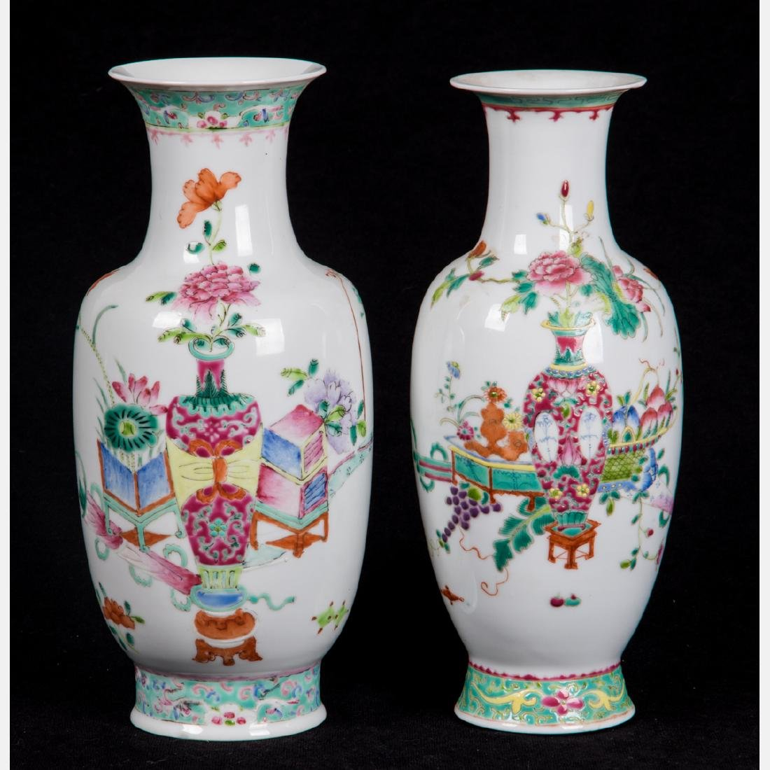 Two Chinese Famille Rose Porcelain Vases, 20th Century.