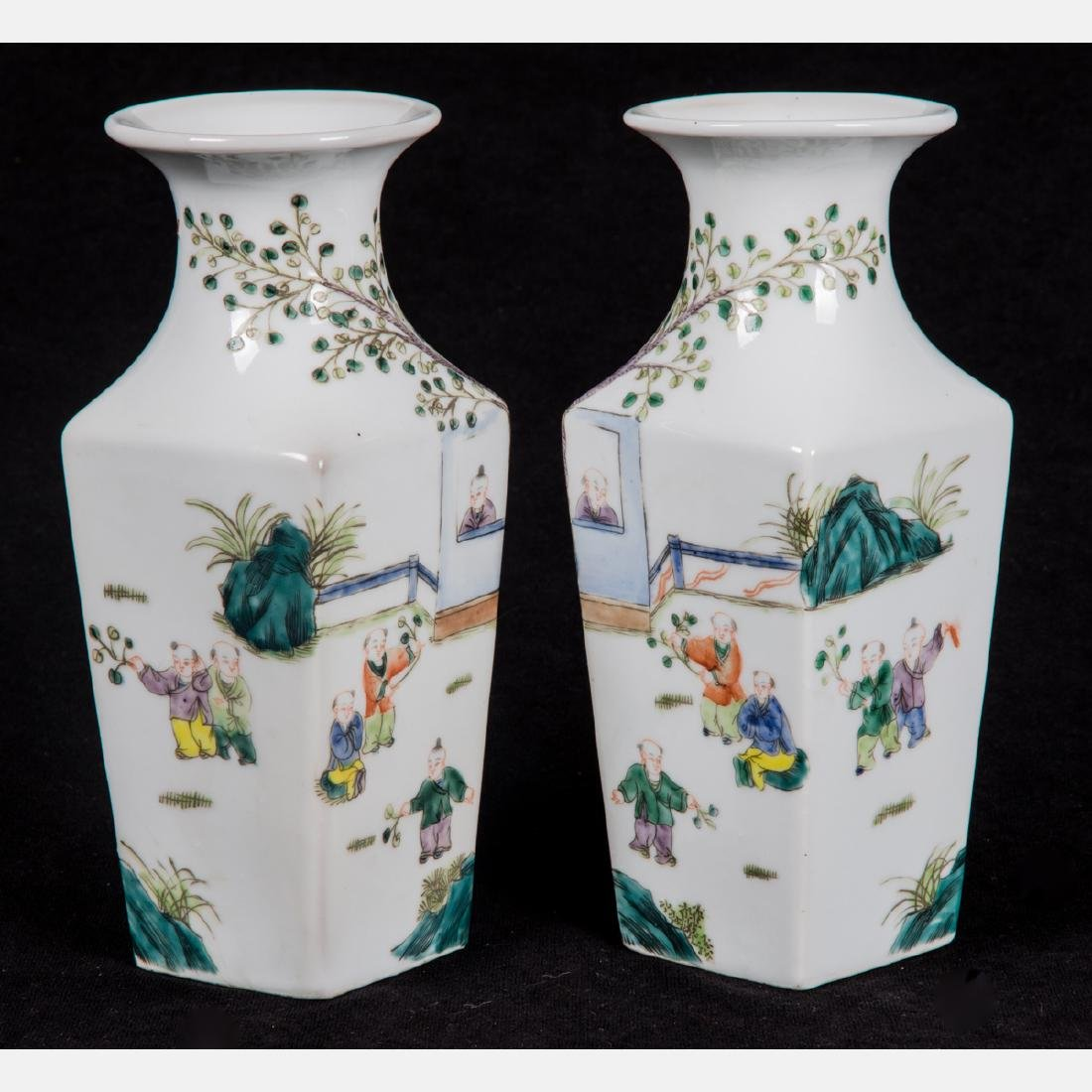 A Pair of Chinese Painted Porcelain Vases, 20th - 2