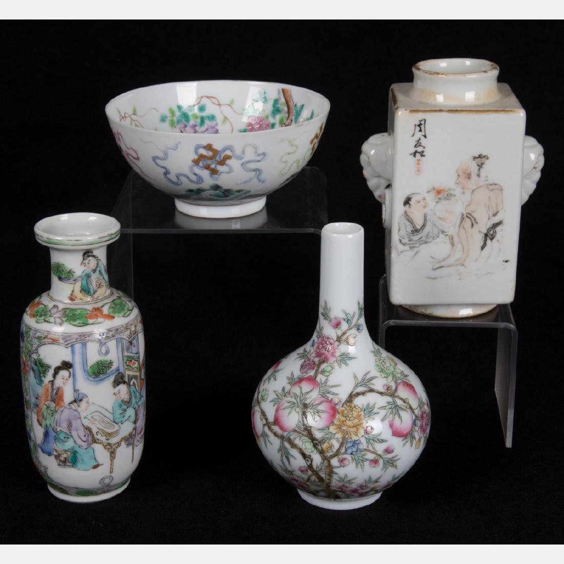 A Group of Three Diminutive Chinese Porcelain Vases,