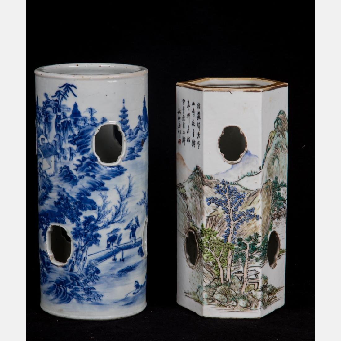 Two Chinese Pierced Porcelain Wig Stands, 20th Century,