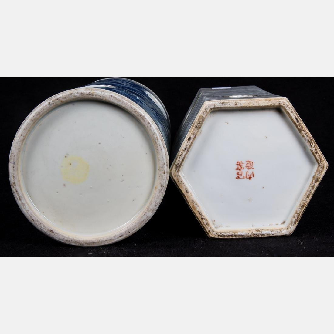 Two Chinese Pierced Porcelain Wig Stands, 20th Century, - 3
