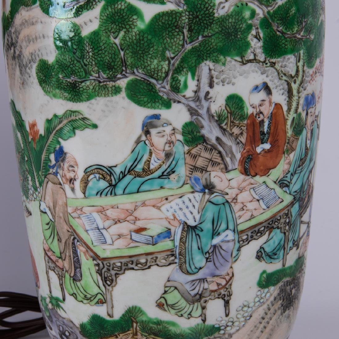 A Chinese Famille Verte Porcelain Vase mounted as a - 2