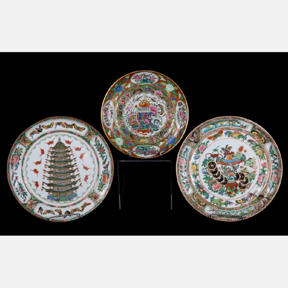 A Group of Three Chinese Rose Medallion Porcelain
