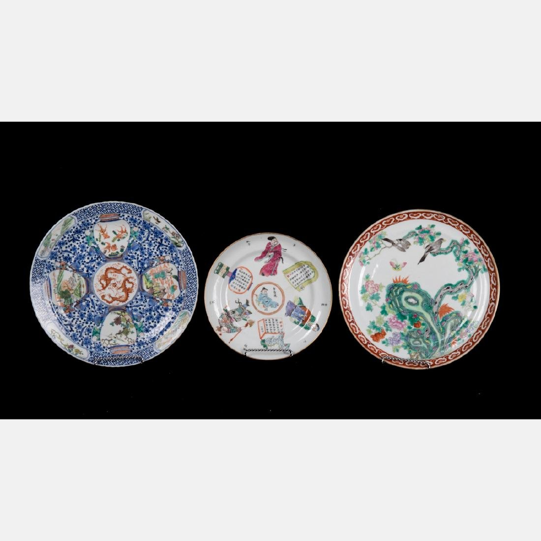 A Group of Three Chinese Porcelain Plates, 19th