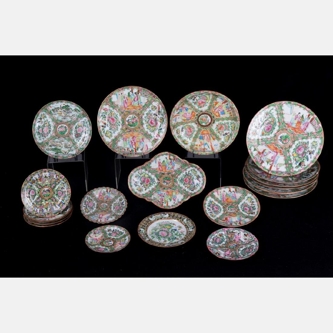 A Group of Twenty Chinese Rose Medallion Porcelain
