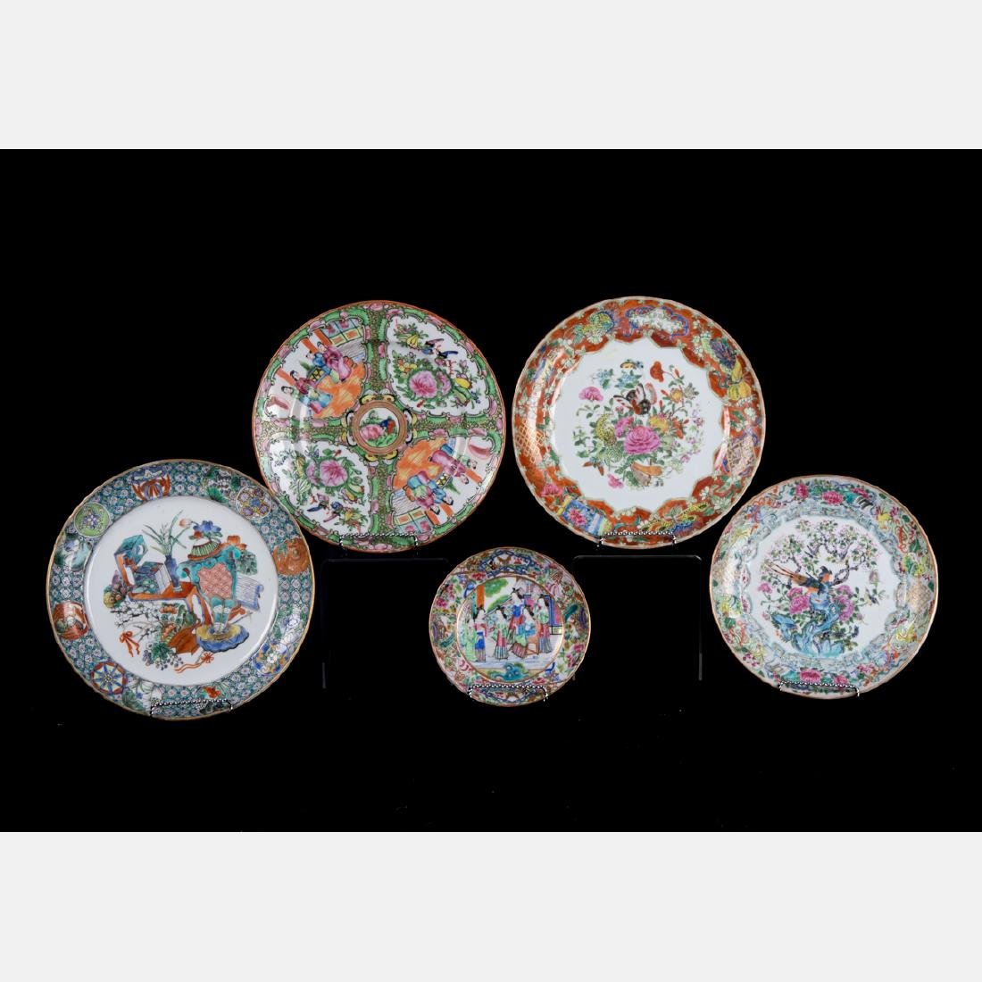A Group Five Chinese Rose Medallion Porcelain Plates,