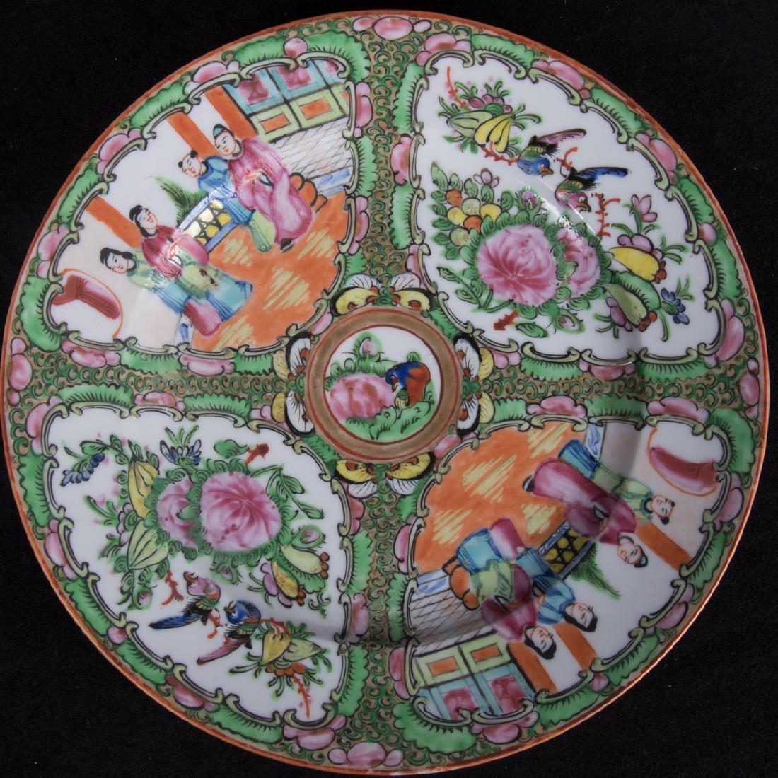 A Group Five Chinese Rose Medallion Porcelain Plates, - 3