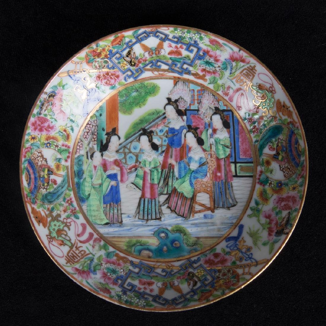 A Group Five Chinese Rose Medallion Porcelain Plates, - 5