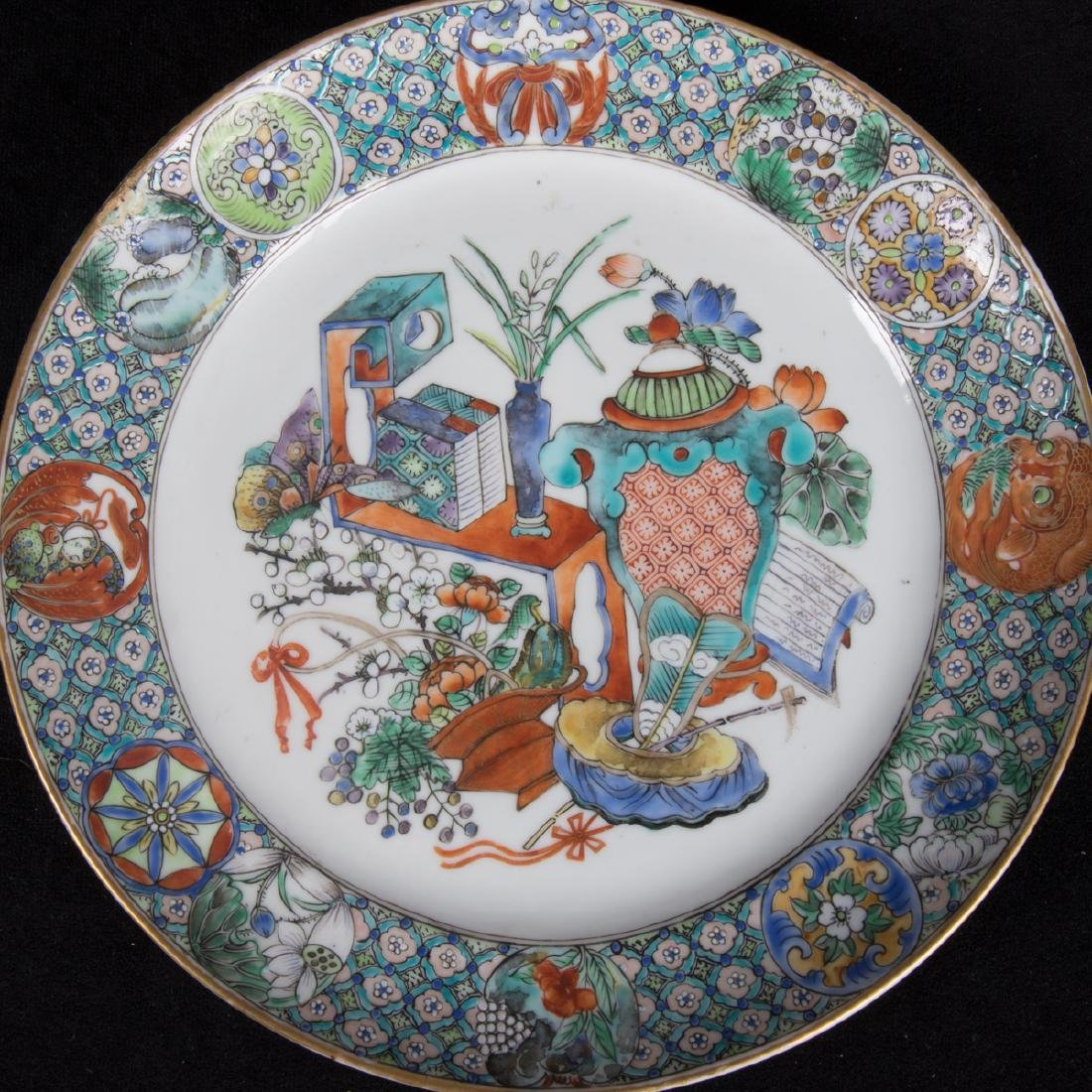 A Group Five Chinese Rose Medallion Porcelain Plates, - 6