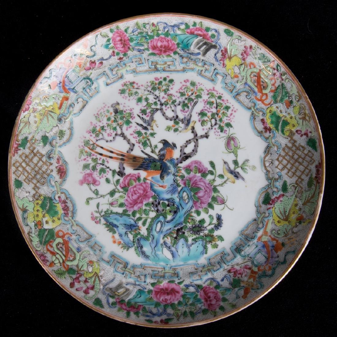 A Group Five Chinese Rose Medallion Porcelain Plates, - 7