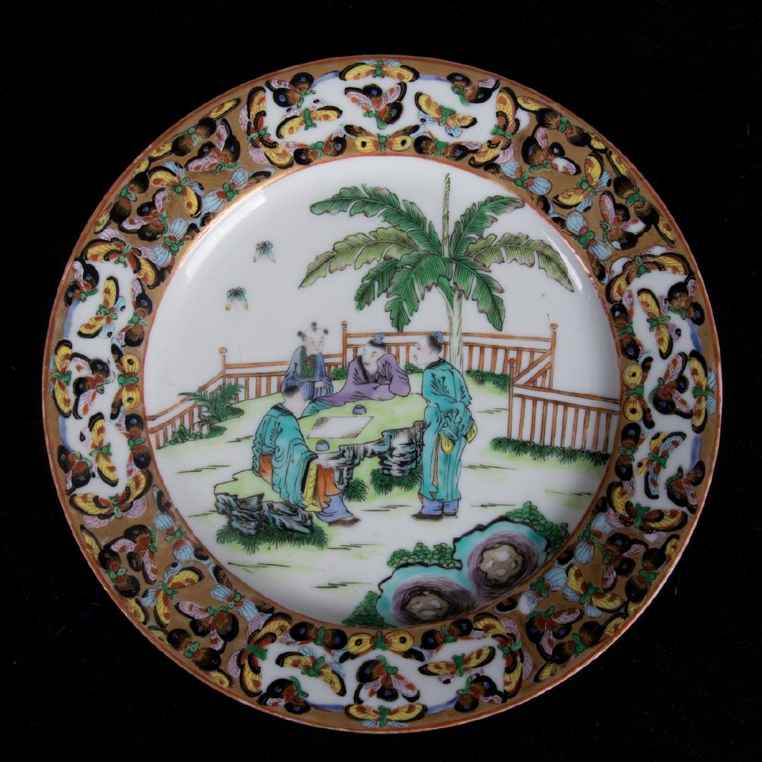 A Group of Four Chinese Famille Rose Porcelain Plates, - 5