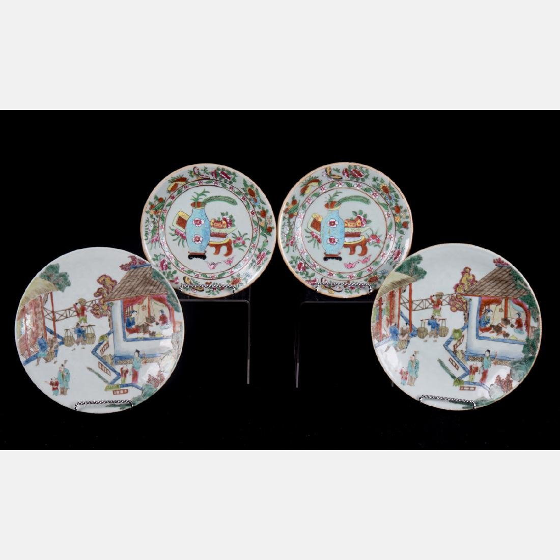 A Group of Four Chinese Famille Rose Porcelain Plates,