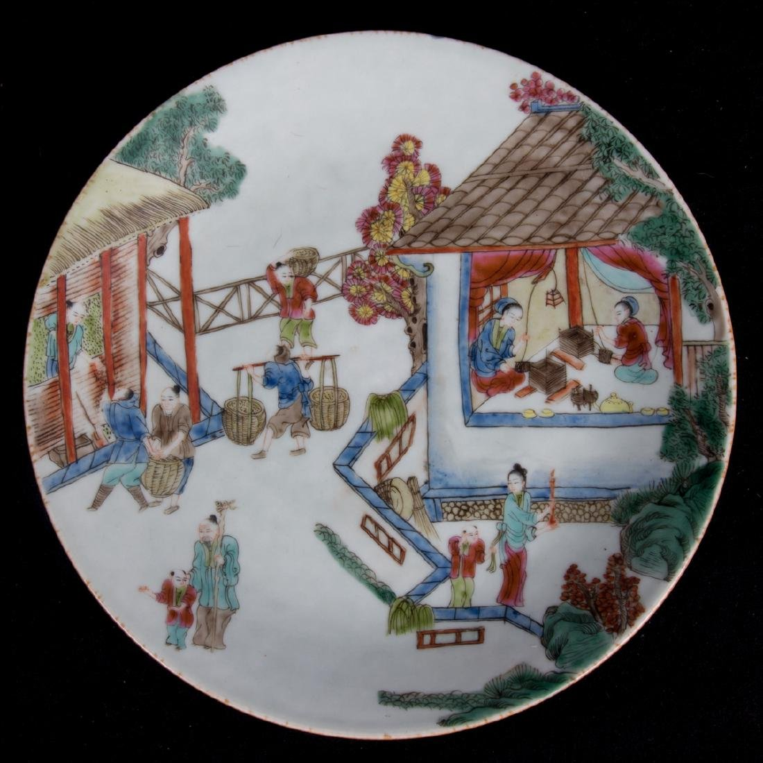 A Group of Four Chinese Famille Rose Porcelain Plates, - 2