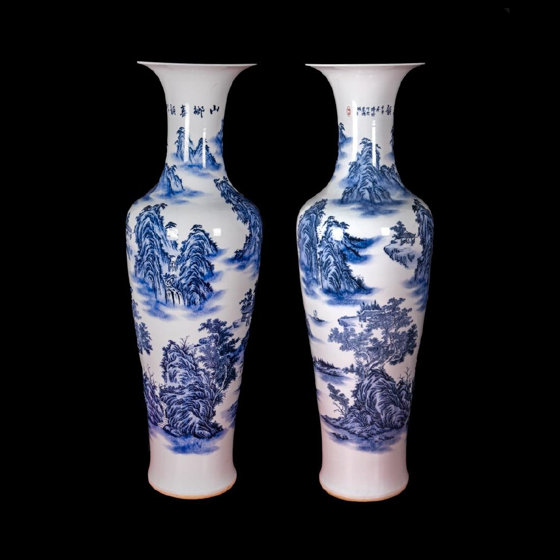 A Pair of  Chinese Palace Size Blue and White Porcelain