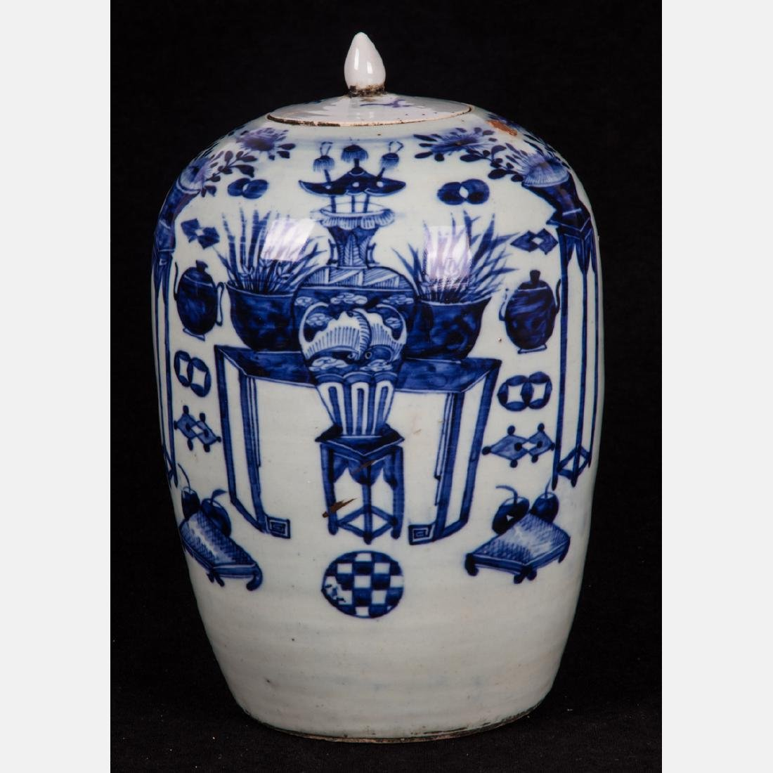 A Chinese Blue and White Porcelain Lidded Jar, 19th