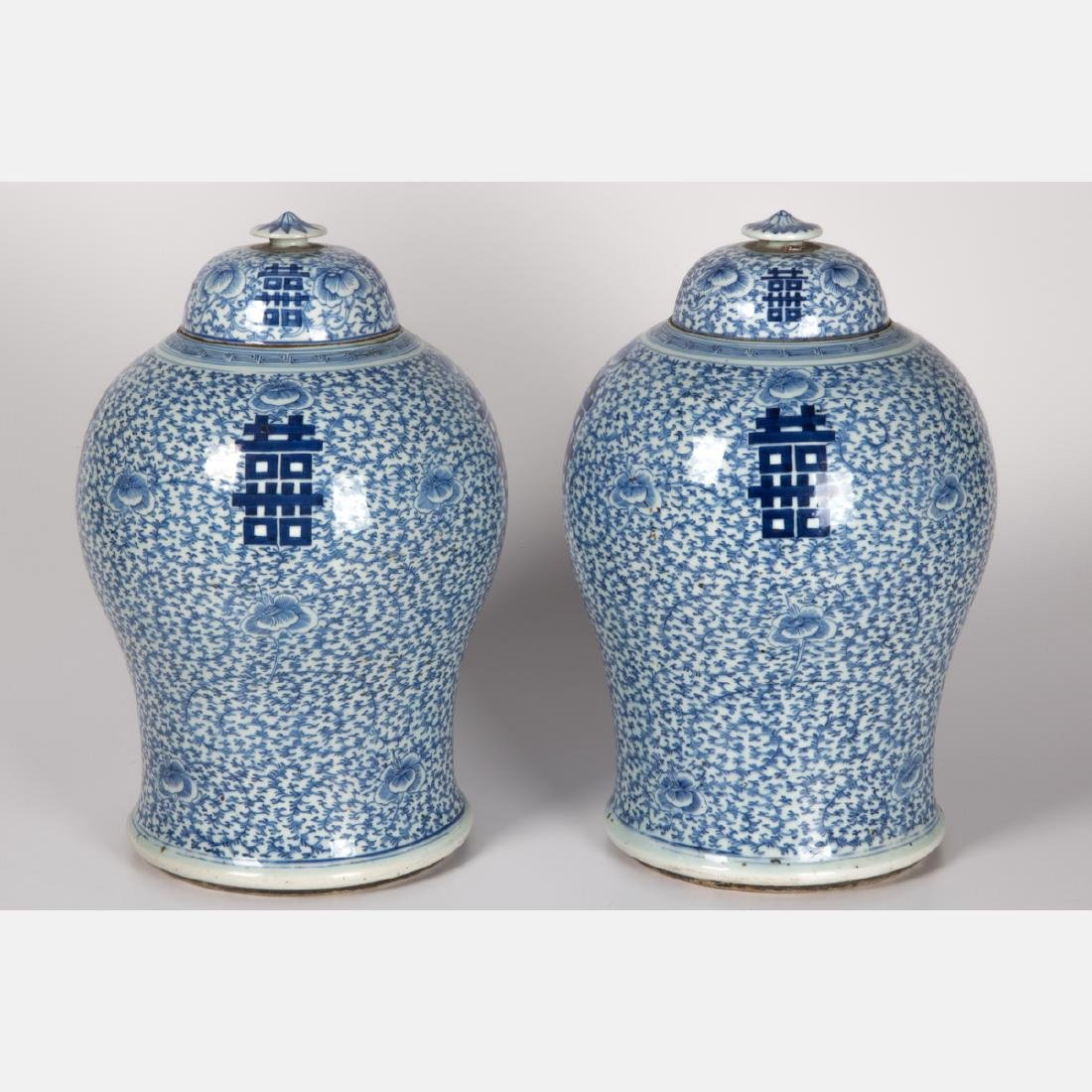 A Pair of Chinese Blue and White Porcelain Lidded Jars,