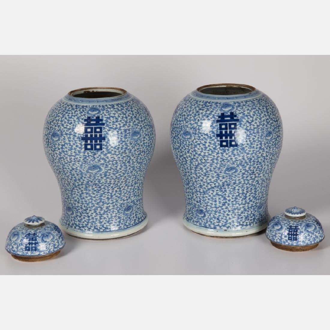 A Pair of Chinese Blue and White Porcelain Lidded Jars, - 2