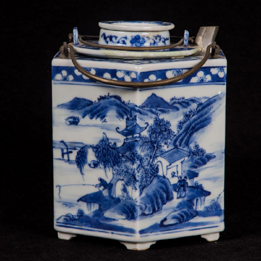 A Chinese Blue and White Porcelain Insulated, Hexagonal