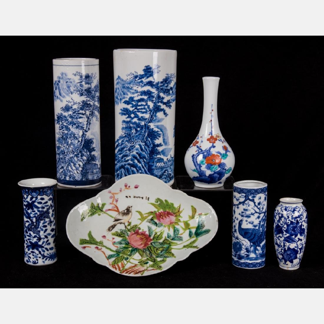 A Group of Six Asian Porcelain Vases, 20th Century,