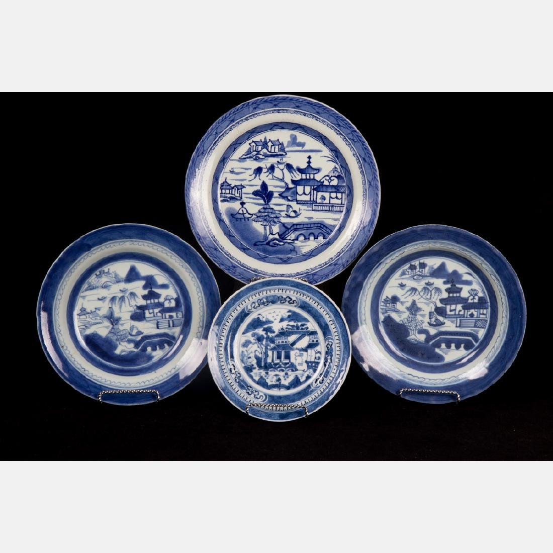 A Group of Four Chinese Export Blue and White Porcelain
