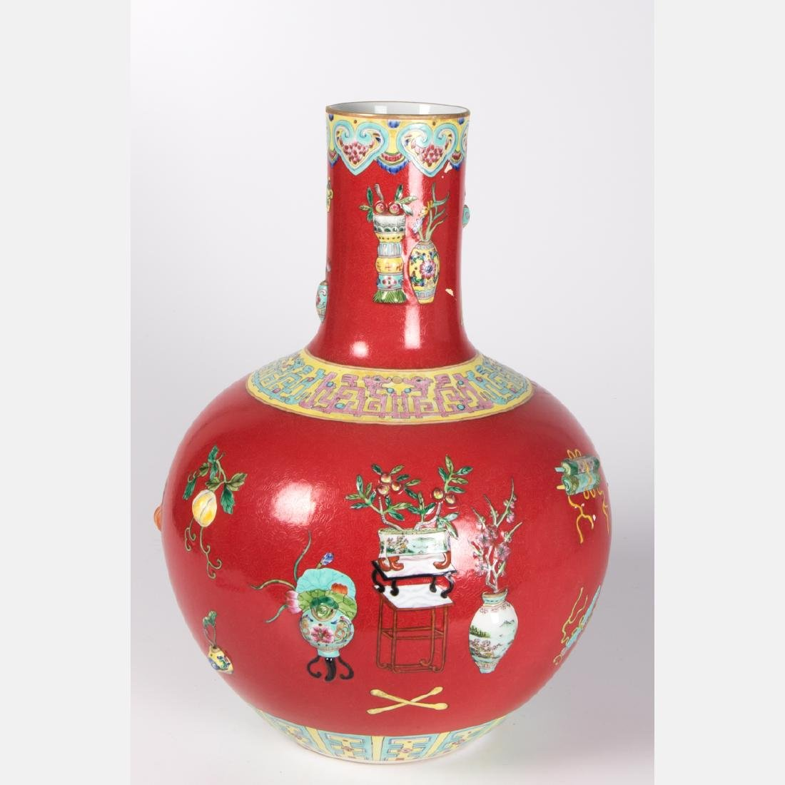 A Chinese Porcelain Vase with Red Ground, 20th Century,