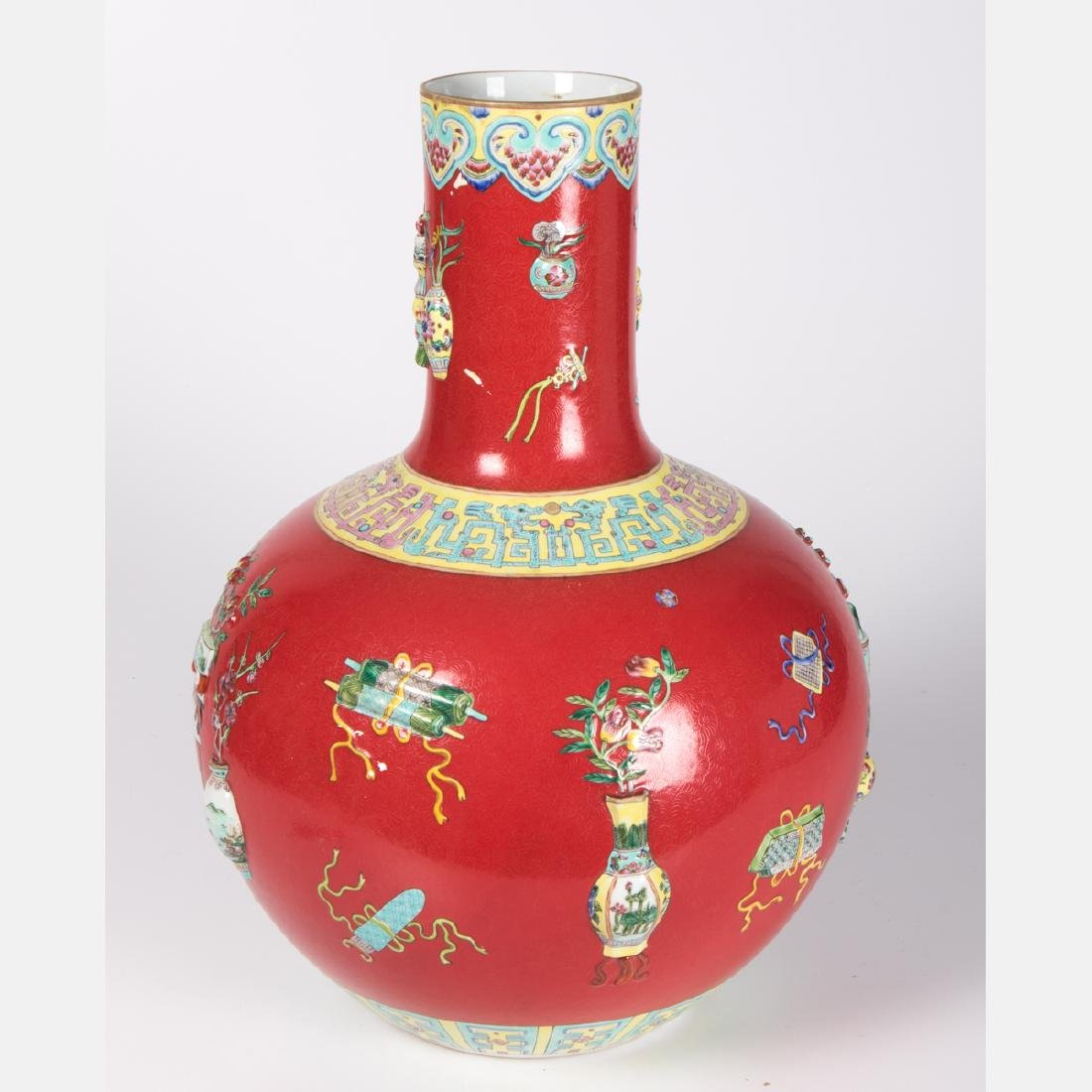 A Chinese Porcelain Vase with Red Ground, 20th Century, - 2