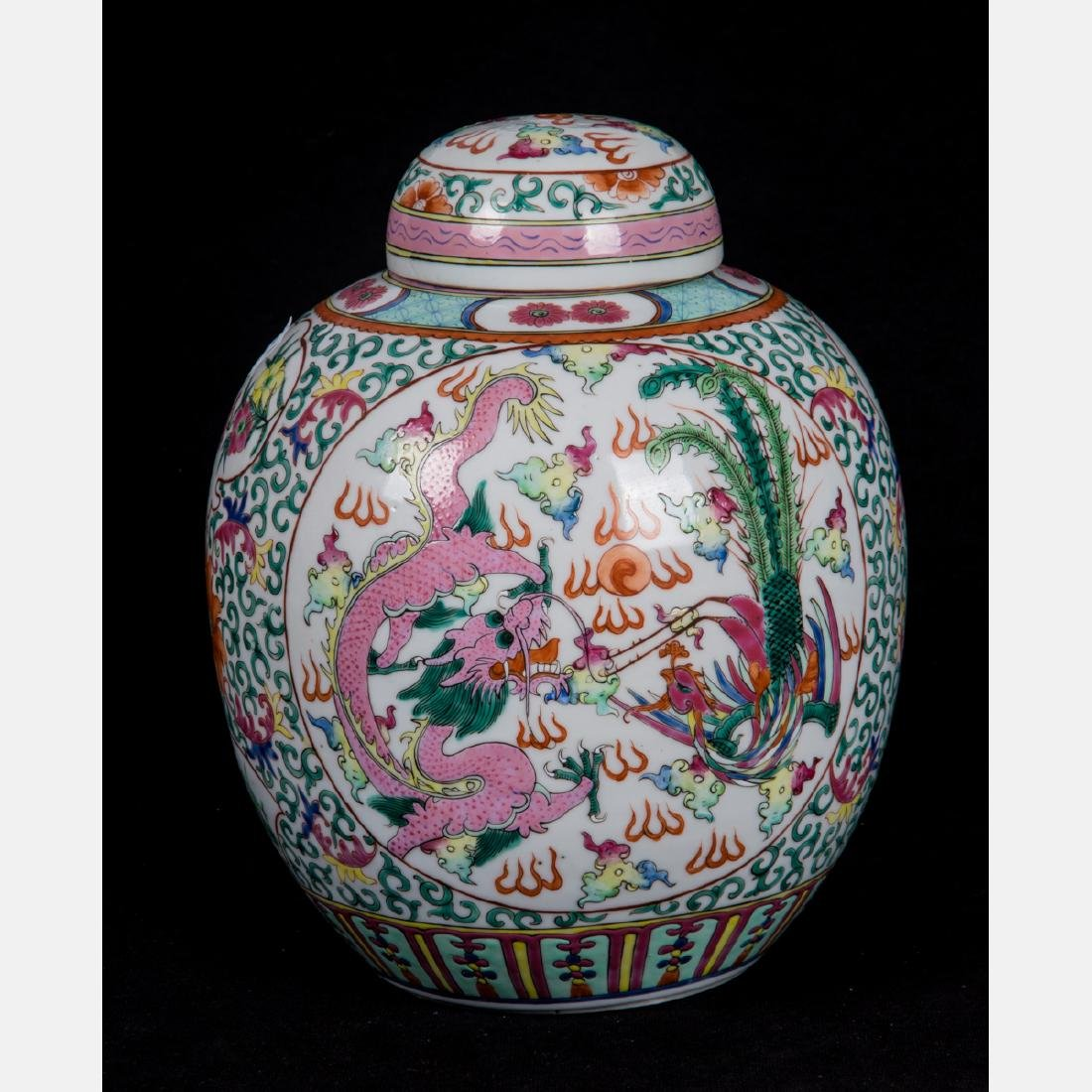 A Chinese Famille Rose Porcelain Lidded Jar, 20th
