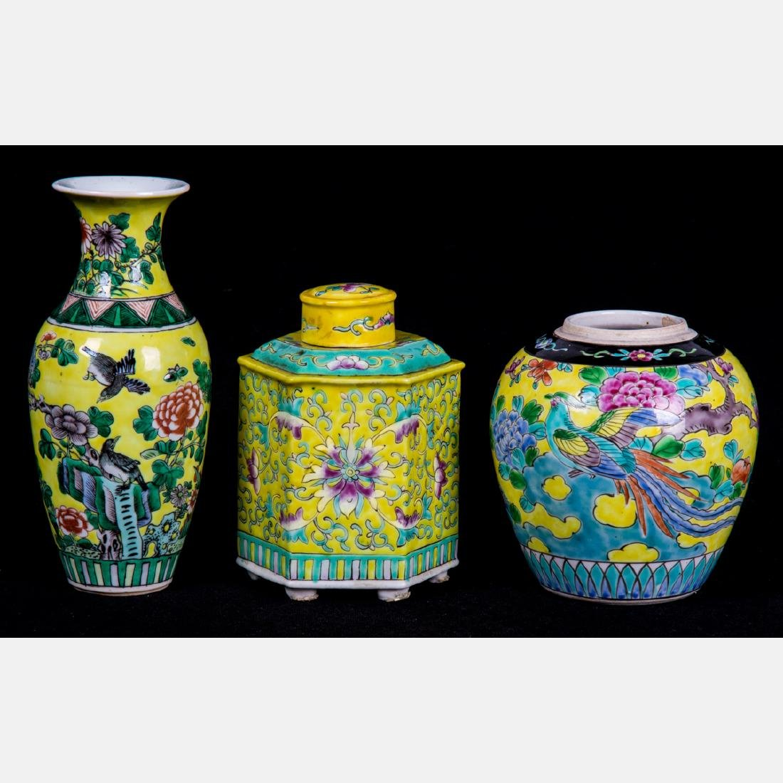 A Group of Three Chinese Famille Jaune Serving and