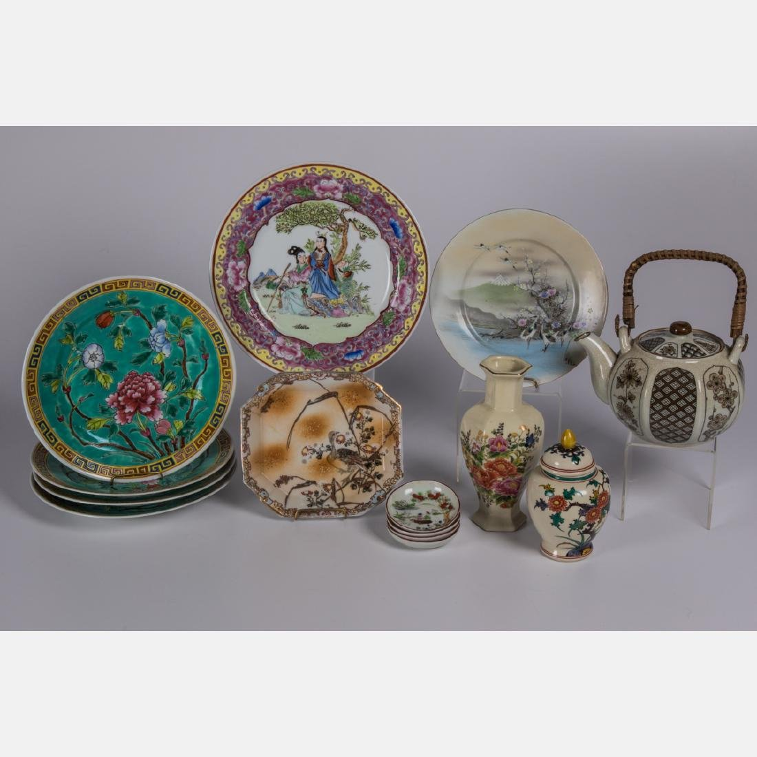 A Group of Fourteen Asian Porcelain and Ceramic Serving