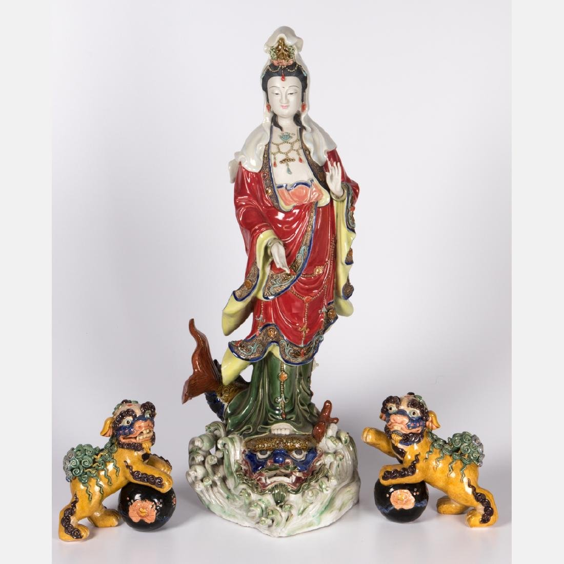 A Group of Three Chinese Porcelain Decorative Items,