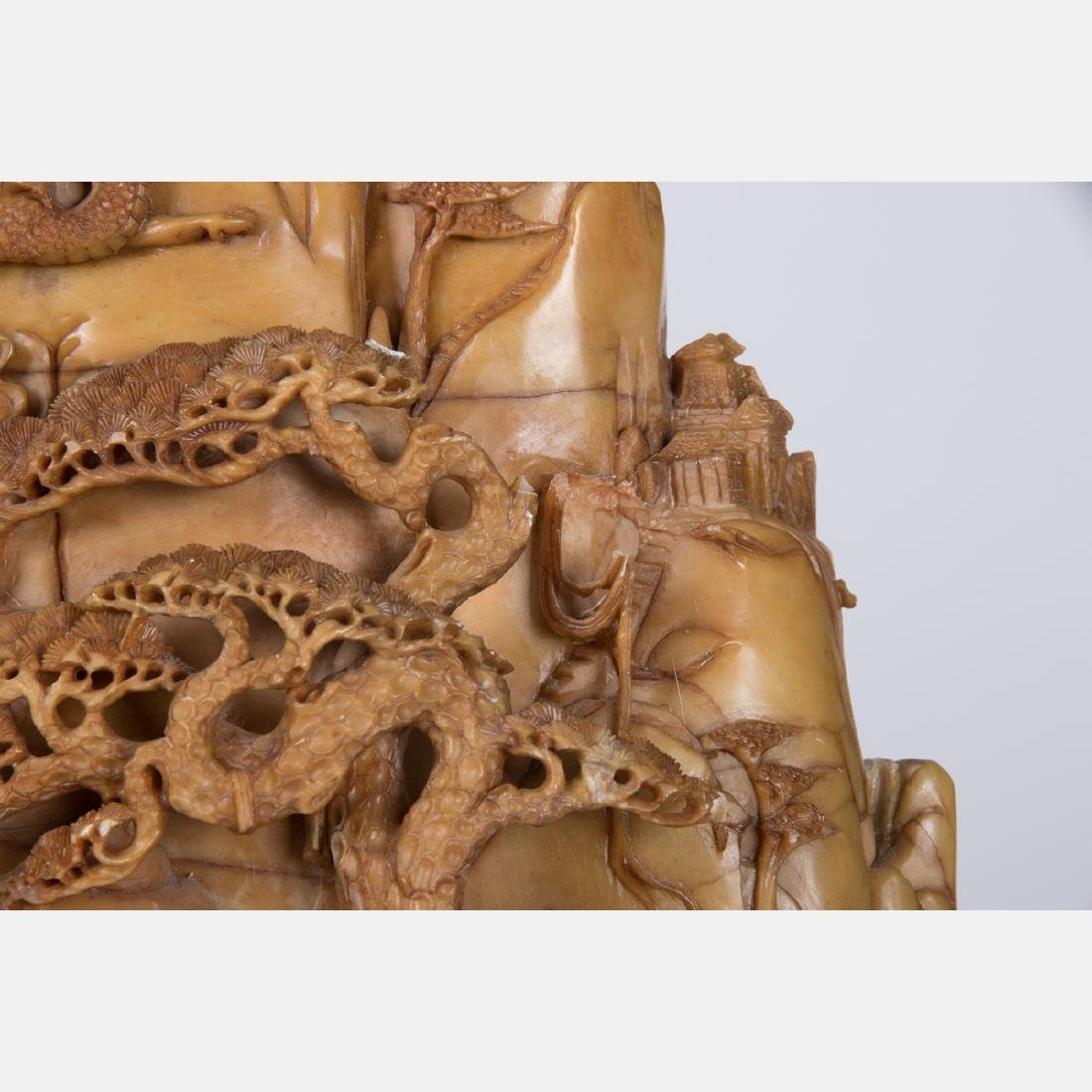 A Chinese Carved Hardstone Landscape with Figures, 19th - 3