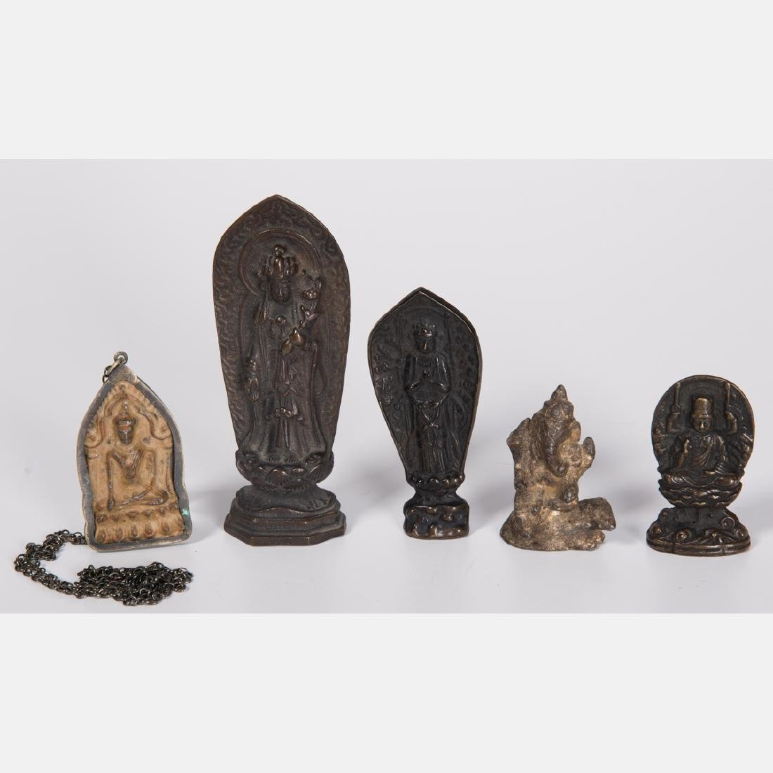 A Group of Five Tibetan Bronze Diminutive Altar