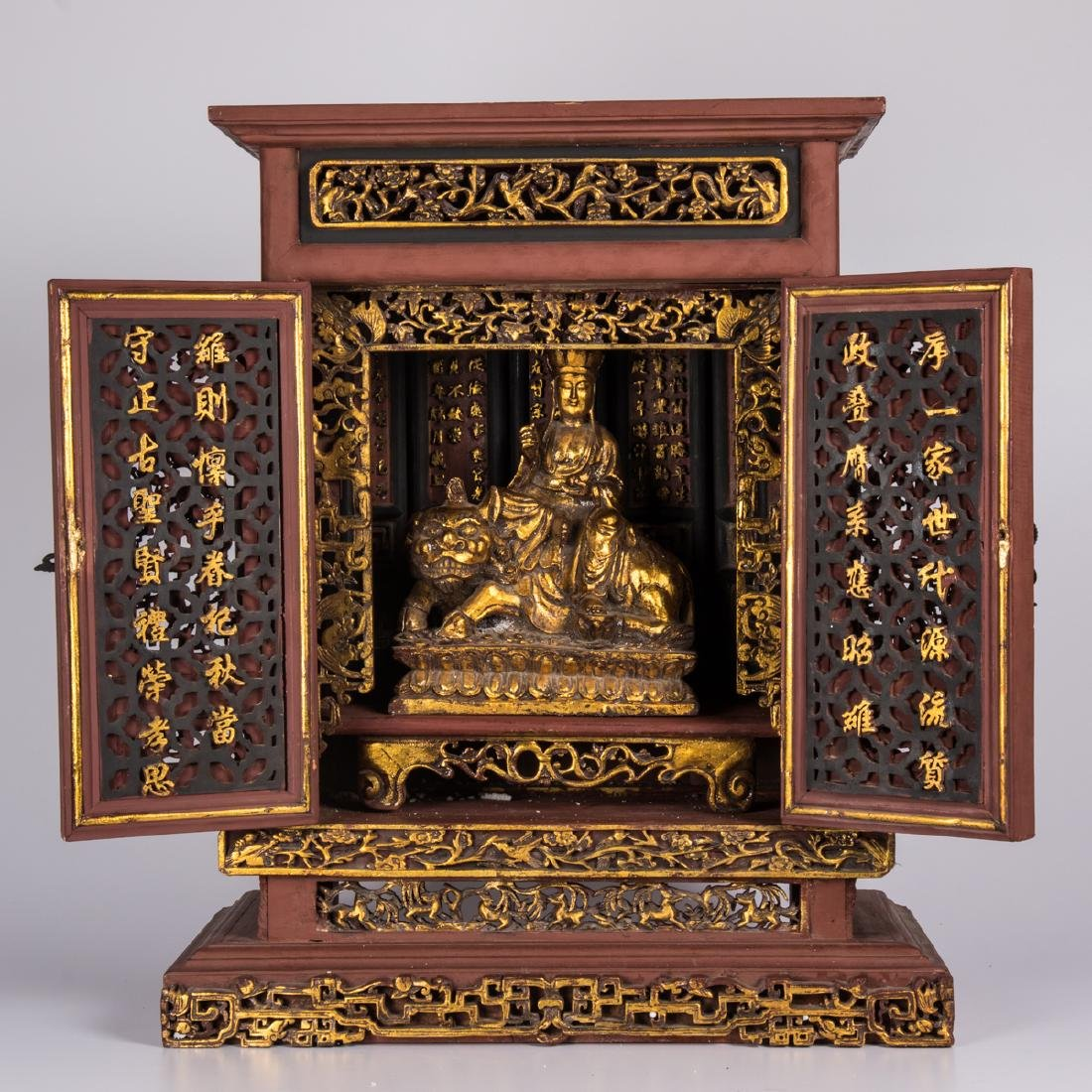 A Chinese Carved and Painted Hardwood Altar Cabinet,