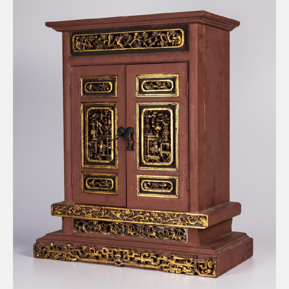 A Chinese Carved and Painted Hardwood Altar Cabinet, - 3
