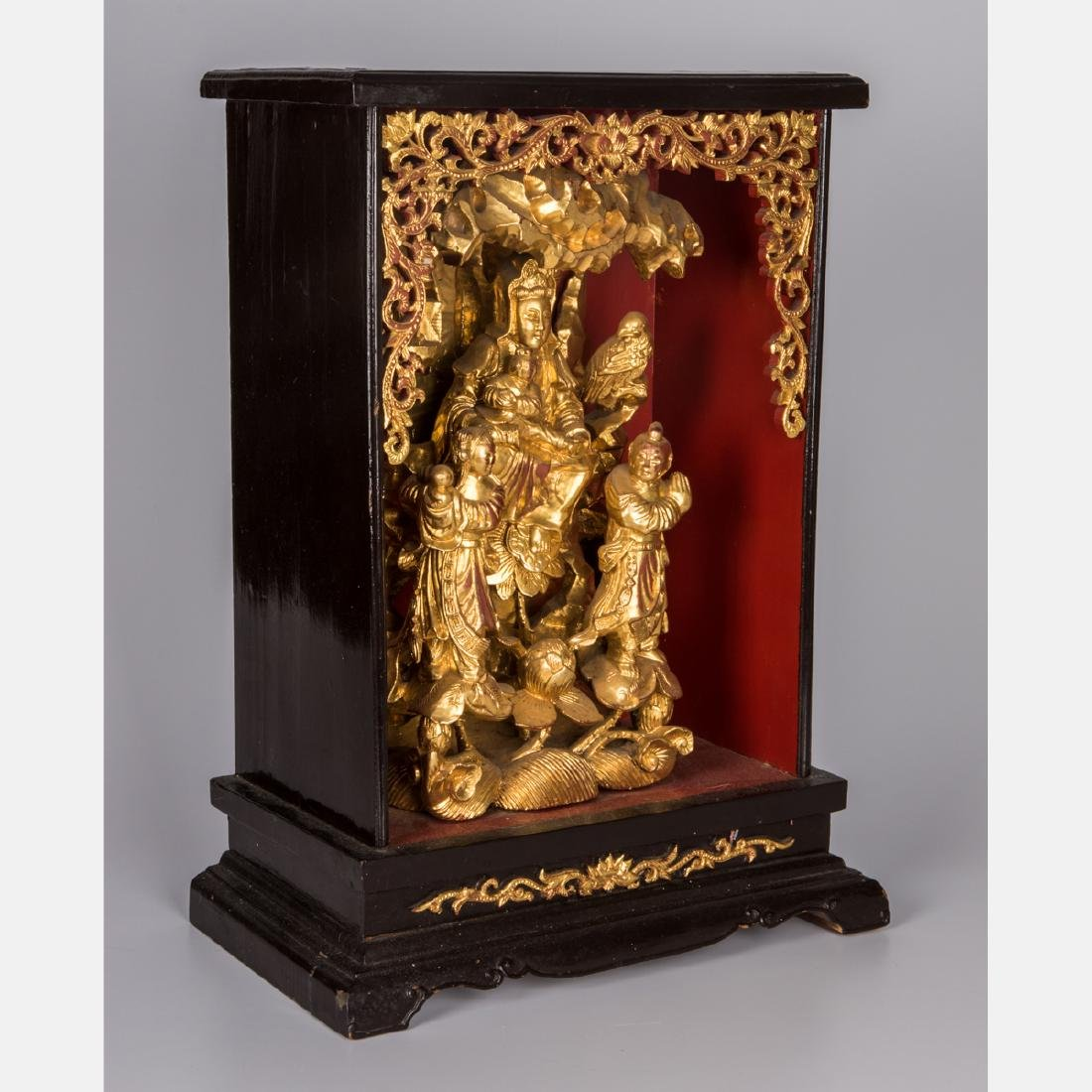 A Chinese Carved and Painted Wood House Altar, 20th - 2