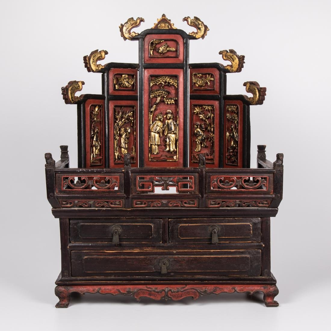 A Chinese Gilt Lacquered Altar Stand with Drawers, 20th
