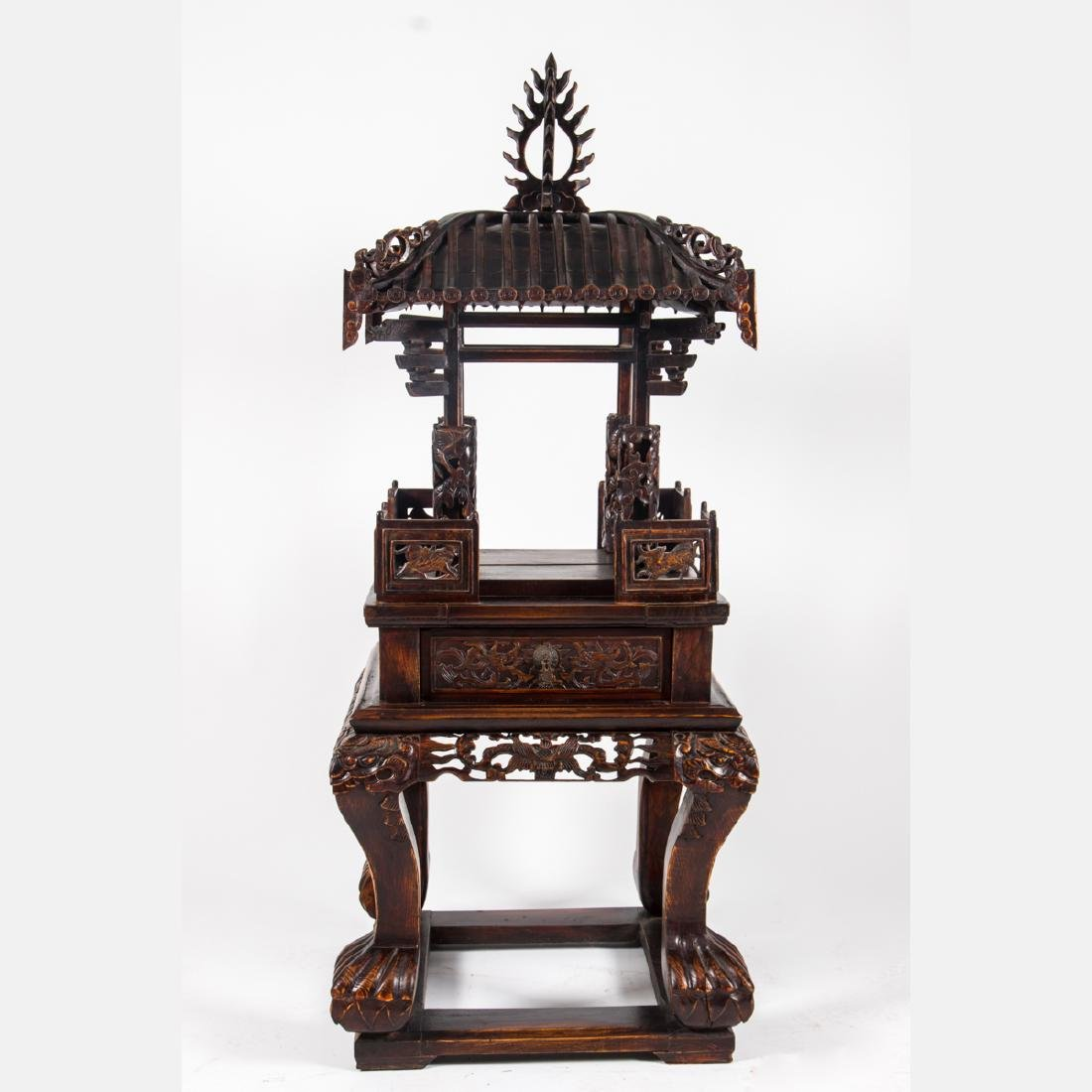 A Chinese Carved and Stained Hardwood Altar Stand,