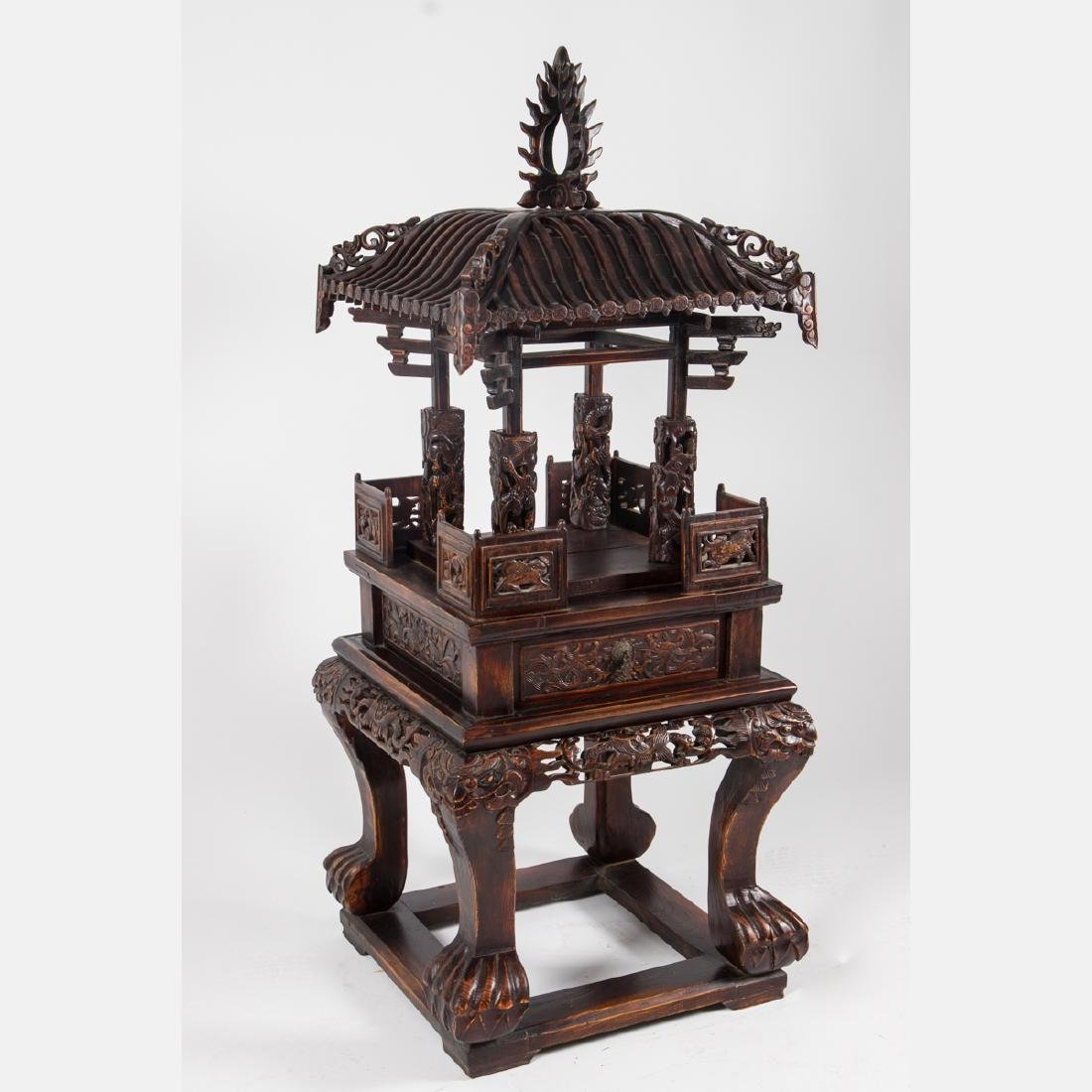 A Chinese Carved and Stained Hardwood Altar Stand, - 2