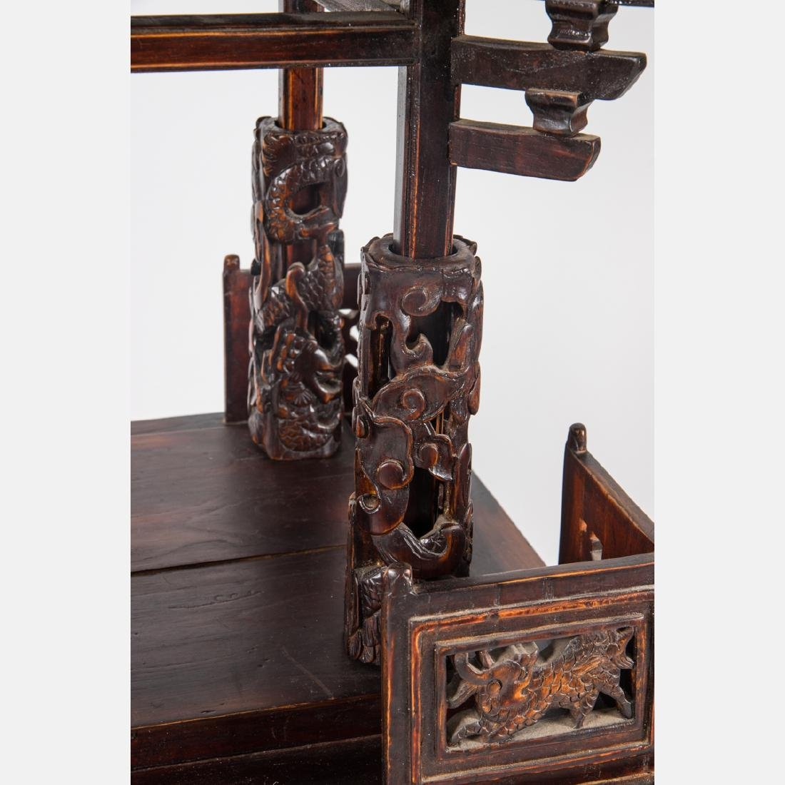 A Chinese Carved and Stained Hardwood Altar Stand, - 3