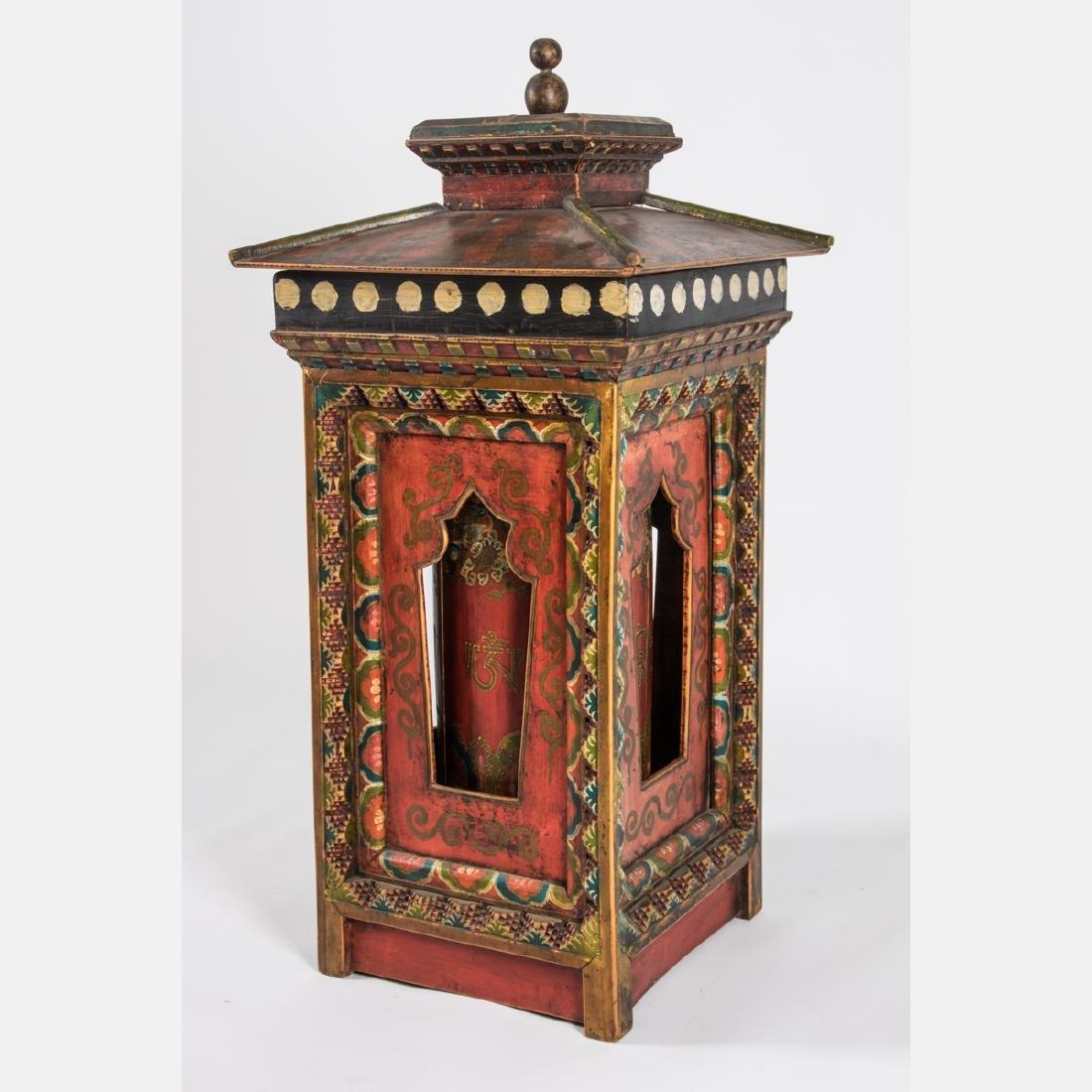 A Tibetan Polychrome Painted Wood Prayer Wheel,