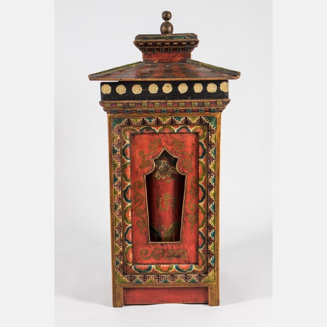 A Tibetan Polychrome Painted Wood Prayer Wheel, - 3