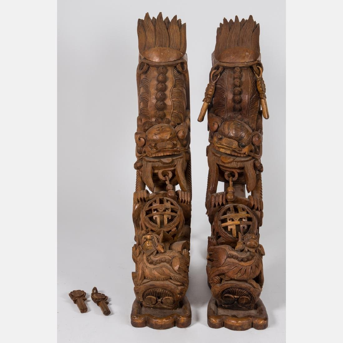 A Pair of Chinese Heavily Carved Elm Dragon Form - 2