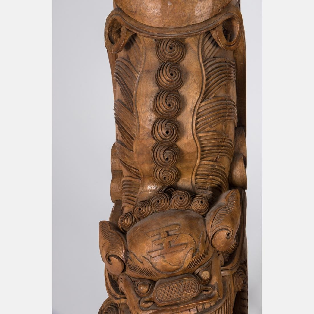 A Pair of Chinese Heavily Carved Elm Dragon Form - 4