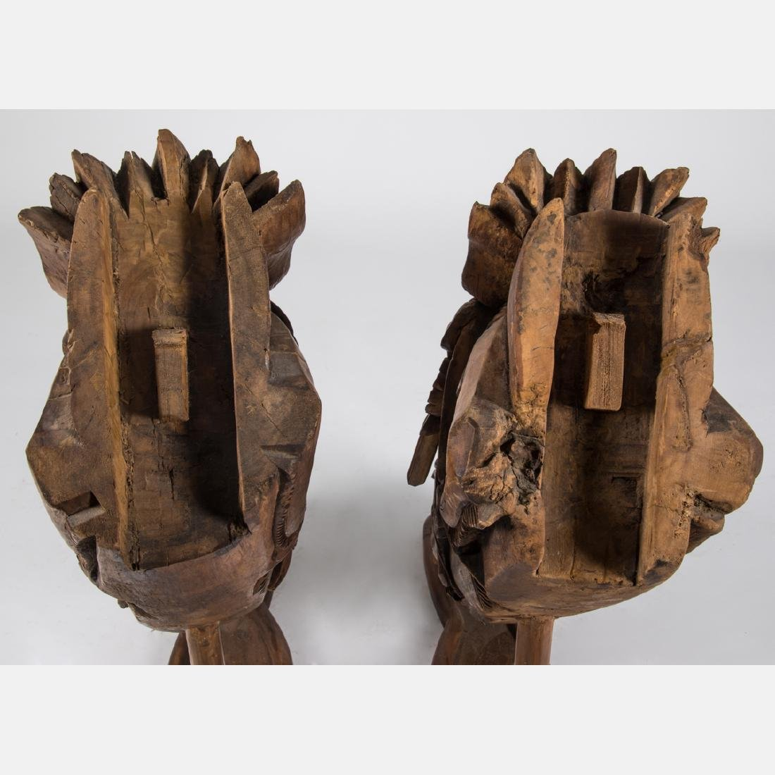 A Pair of Chinese Heavily Carved Elm Dragon Form - 6