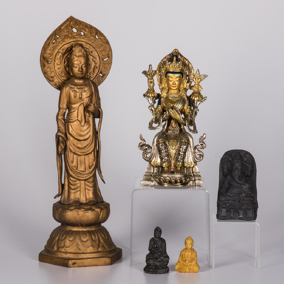 A Group of Five Asian Gilt Metal and Stone Gods,