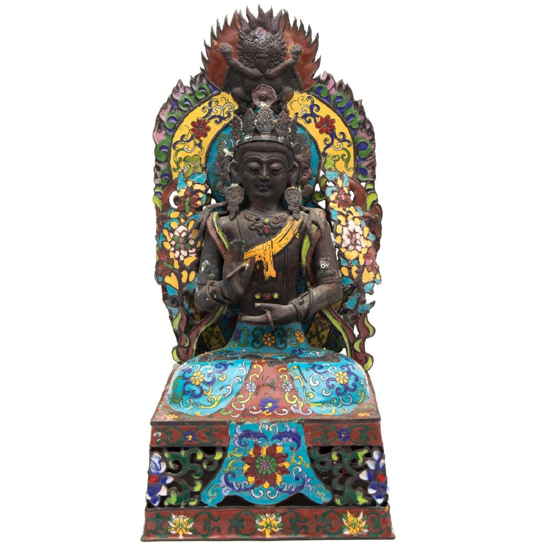 A Tibetan Cloisonné and Metal Firugre of a Deity, 20th